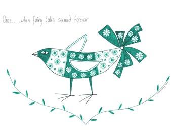 Original bird drawing, Original art illustration of bird, Bird art, Childrens art, Graphic nature drawing, Pen and ink art, Green drawing