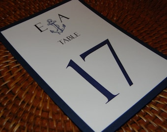 Nautical Table Numbers with navy blue backing