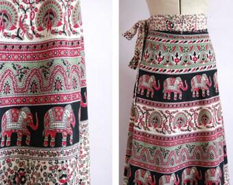 1970s Indian bohemian block print wrap skirt - Indian cotton skirt - 70 hippie skirt - Indian skirt - 70s boho skirt - festival skirt - boho