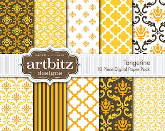 "Tangerine 10 Piece Damask Digital Scrapbooking Paper Pack, 12""x12"", 300 dpi .jpg, Instant Download!"