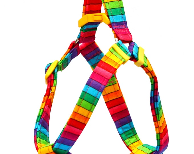 Step In Dog Harness - Bright Rainbow Stripes - Mini Small Medium Large XL Dog Harness