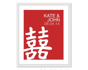 Chinese Wedding Custom Gift for Newlyweds - Personalized Couples Print - Chinese Wedding Poster- Red Double Happiness Symbol Character