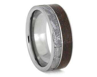 Gibeon Meteorite Ring With Dinosaur Bone, Titanium Fossil Ring, Space Jewelry
