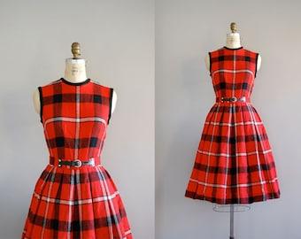 1950s dress / plaid dress / 50s Plaid Wool dress