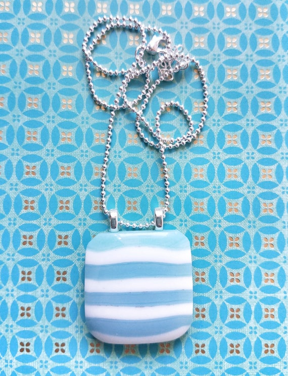 Turquoise Striped Glass Pendant with Chain