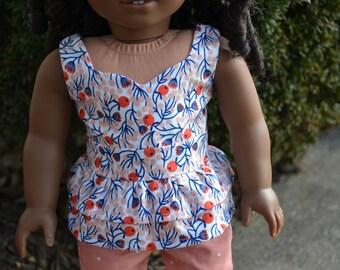 18 inch Doll Clothes - Peach Blooms Ruffle Peplum Top - PEACH WHITE BLUE - fits American Girl