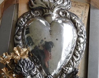 Antique French Heart of Mary, Religious Ex Voto Sacred Flaming Heart, offered by RusticGypsyCreations