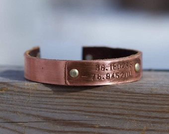 Christmas Gift for Newlyweds -Personalized Copper Anniversary Gift Idea - Latitude Longitude Bracelet - Matching His and Hers Bracelets -