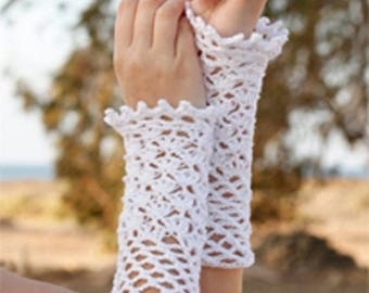 (White) cotton crocheted arm warmers hand #Collection was