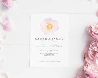 Wedding invitations set printable - Wedding invitation floral - Printable wedding invites set - Digital invitations - Pink flower minimal