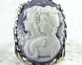 Sister Friends Cameo Ring Sterling Silver Custom Jewelry