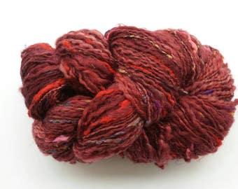 Red wool and silk yarn, bulky yarn, handspun yarn, art yarn, knitting yarn, weaving, crochet, hand-dyed yarn, multi-color yarn