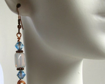 Aqua Blue Crystal Earrings Copper Drop Dangle Earrings March Birthday Swarovski