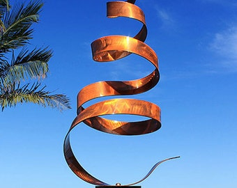 Copper Metal Sculpture - Indoor-Outdoor Modern Garden Decor - Large Handmade Abstract Yard Art - Copper Wisp by Jon Allen