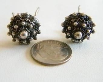 Vintage Silver Domed Button Pierced Earrings