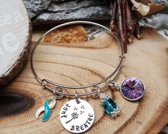TW-4 Eating Disorder Recovery Jewelry Addiction Recovery Survivor Jewelry Just Breathe Dandelion Birthstone Bracelet Gift For Her