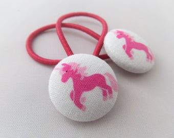 Pink Unicorns - Ponytail holders - fabric covered button hair ties