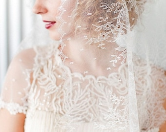 Silk French Lace Veil Delicate Embroidered Lace Veil Scarf Cape Best Bridal Veil