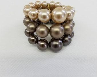 Vintage Pearl Bracelet -  Faux Pearls on Memory Wire  #38