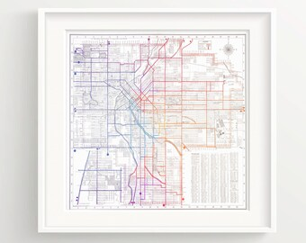 Vintage Denver Colorado Map Print - Color - White Background - Metro Urban - Wall Art Print