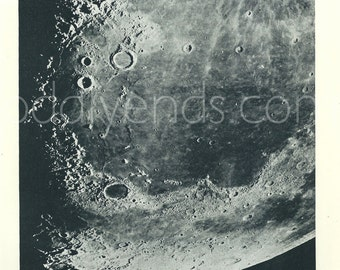 1950's Moon Surface, Original Vintage Astronomy Space Print (ref273)