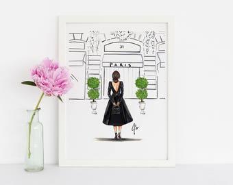 The Boutique (Fashion Illustration Print - Paris Print-Fashion Illustration Art - Fashion Sketch prints - Home Decor - Wall Decor )