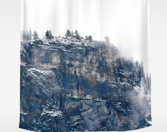 Fabric Shower Curtain - Cliff, Bluff, Rocky Mountain Landscape, Wilderness, Nature Photography, RDelean