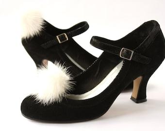Shoe Clips White Mink Fur Pompon