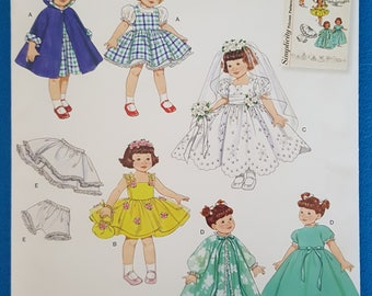 """Simplicity 0637 Doll Clothes Sewing Pattern ~ 8"""" Doll ~ Uncut"""