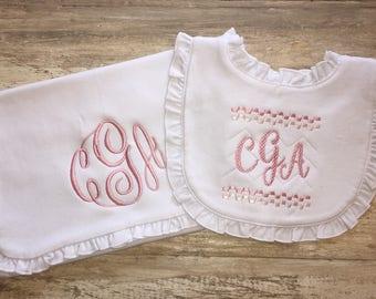 Bib And Burp Cloth Set, Smocked Bib, Smocked Monogram, Baby Girl Ruffled Bib and Burp Cloth