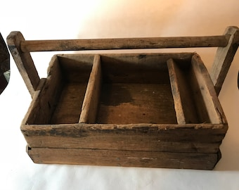 Rustic Carpenter's Tool Caddy, Primitive Tool Box, Wood Tool Caddy, Wooden Tool Caddy, Wood Tool Box, Old Wooden Carrier, Old Wood Carrier