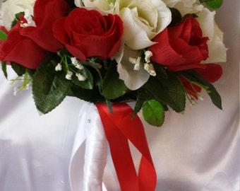 Bridal bouquet wedding bouquet rose flower bouquet silk rose bouquet party decoration wedding flowers bride bouquet bride flower red bouquet