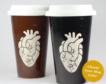 Anatomical Heart Travel Mug - insulated lidded coffee cup