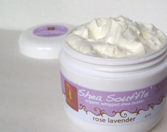 ORGANIC ROSE LAVENDER  Shea Whipped Body Butter, Bath and Beauty, Skincare, Natural Moisturizer, Bridesmaid gift