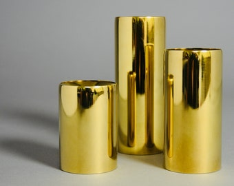 3 MCM Danish Modern Cylindrical Brass Candlesticks Candleholders Made in Denmark