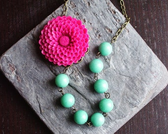 Pink flower necklace, light blue beaded necklace, asymmetric necklace, floral necklace, summer jewelry, holiday gift ideas, gifts for mom