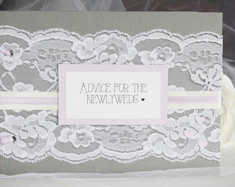 Grey and Purple Bridal Shower Advice for Newlyweds Book, Bridal Shower Guest Book, Bridal Shower, Advice for the Bride, Bride Guest Book