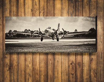 WWII B-17 Flying Fortress bomber plane sepia toned on Canvas or Satin Photo Paper