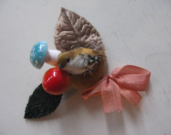 Bird Brooch with Mushroom and Fruit