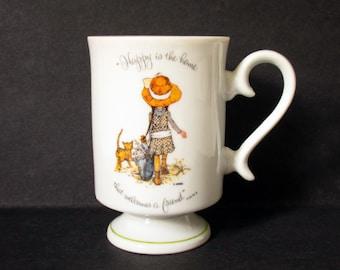 Holly Hobbie Pedestal Coffee Mug, Porcelain Footed Mug, Happy is the Home That Welcomes A Friend, Friendship Mug, Tea Lover, Friendship Gift