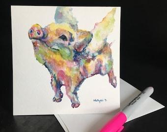 Flying Pig Frameable Fine Art Card