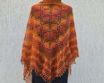 Hand knitted shawl, Lace knitted shawl wrap, Orange brown shawl