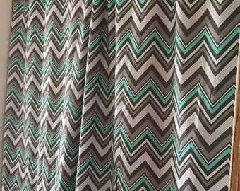 Gray and teal chevron curtain  panels choose size