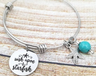 Wish upon a starfish Customizable Expandable Bangle Charm Bracelet, beach jewelry, seashells, ocean, sea, summer