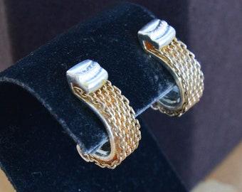 MONET Gold tone, Silver tone Half Hoop Clip Earrings, Vintage (AL3)