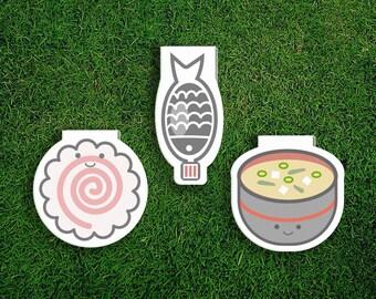 Magnetic Bookmark Set | Japanese Food Bookmark Set Japan, Japanese, Soy Sauce, Narutomaki, Naruto, Miso, Cute, Quirky, Kawaii, Food