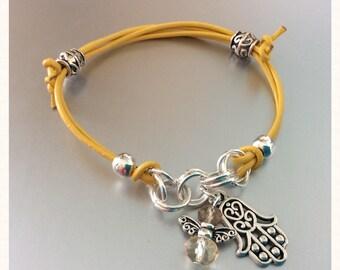 Yellow Leather I AM CONFIDENT Solar Plexus Chakra Charm Bracelet with Hamsa & Angel Charm