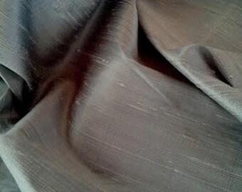 "Silver Grey Silk Dupion Fabric, Width 54"", Sold By the Yard, Home Decor"