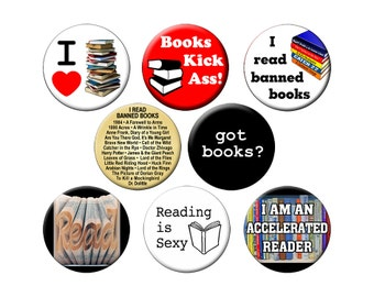 8 Book-Lover Pins - For Librarians and Book Readers  - 8 Small 1.25 inch Reading Pin Back Badges or Buttons