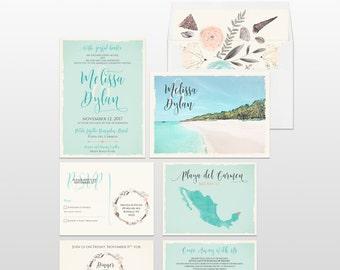 Mexico Beach Destination wedding invitation Playa del Carmen, Punta Mita, Cabo, Puerto Vallarta illustrated floral set Deposit Payment